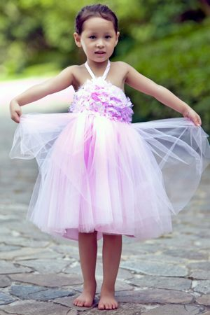 Pink A-line Halter Flowers Tulle Junior Bridesmaid Dress in Maine