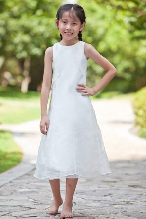 Unique White Column Scoop Junior Bridesmaid Dress in Massachusetts