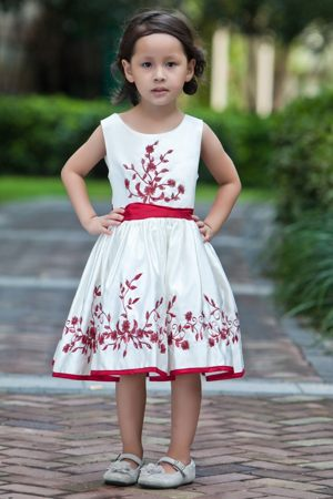 Iowa White and Red A-line Embroidery Scoop Junior Bridesmaid Dress