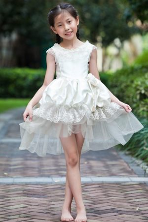Flowers and Pick-ups White Scoop A-line Junior Bridesmaid Dress