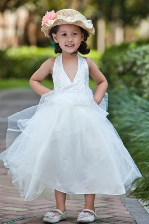 Beading and Flowers White A-line Halter Junior Bridesmaid Dress