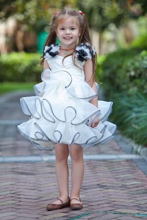 A-line V-neck Flowers and Ruffles Junior Bridesmaid Dress in White