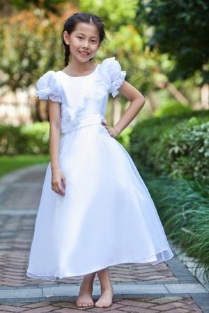 White A-line Scoop Junior Bridesmaid Dress in Hawaii with Flowers