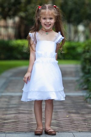 Maryland Beading and Ruffles White Straps Junior Bridesmaid Dress