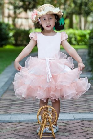 White and Baby Pink A-line Scoop Ruffles Junior Bridesmaid Dress