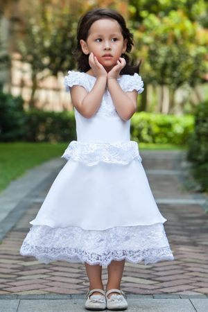 North Dakota White Scoop Ankle-length Lace Junior Bridesmaid Dress