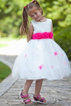 Nevada Hand Made Flowers White Scoop Tulle Junior Bridesmaid Dress