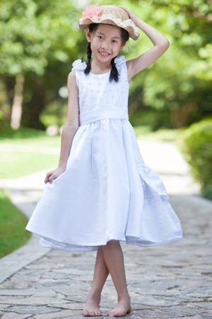 Hand Made Flowers Beading White Junior Bridesmaid Dress in Oregon