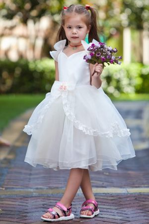 Hand Made Flower White Ball Gown V-neck Junior Bridesmaid Dress