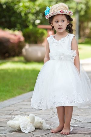 Hand Made Flowers and Beading V-neck White Junior Bridesmaid Dress
