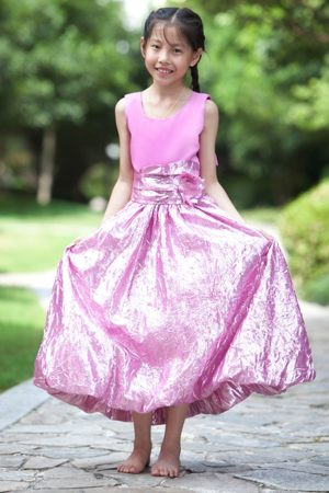 Scoop Column Ankle-length Bow Junior Bridesmaid Dress in Lavender