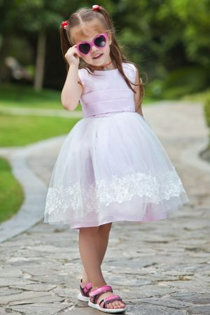 Tea-length Pink Scoop Appliques Ball Gown Junior Bridesmaid Dress