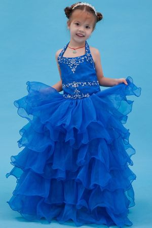 Applique and Ruffles Blue Ball Gown Halter Junior Bridesmaid Dress