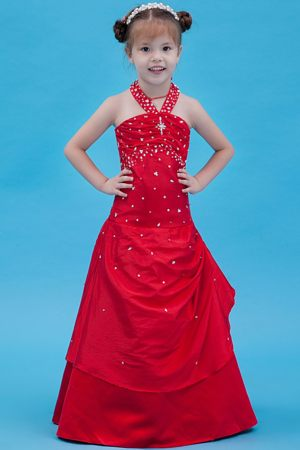 Cute Red A-line Halter Beading Junior Bridesmaid Dress in Virginia