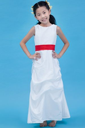 Nebraska White Column Scoop Junior Bridesmaid Dress with Red Belt