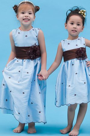 Vermont Baby Blue Scoop A-line Appliques Junior Bridesmaid Dress