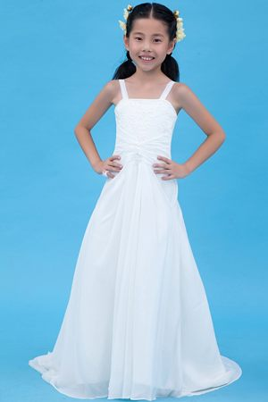 Embroidery White A-line Straps Junior Bridesmaid Dress Brush Train