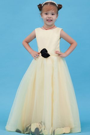 Hand Made Flower A-line Scoop Light Yellow Junior Bridesmaid Dress