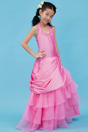 Fuchsia Halter A-line Beaded and Ruffled Junior Bridesmaid Dress