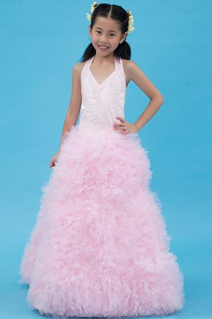 Halter Baby Pink A-line Tulle Junior Bridesmaid Dress with Beading