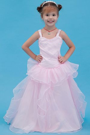 North Carolina A-line Straps Junior Bridesmaid Dress in Baby Pink
