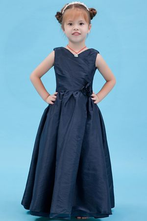 Navy Blue V-neck A-line Junior Bridesmaid Dress in New Hampshise