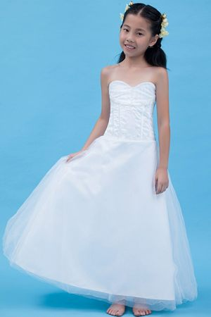 Kentucky Sweetheart A-line Appliques White Junior Bridesmaid Dress