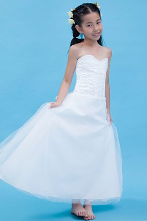 White Junior Bridesmaid Dresses 4