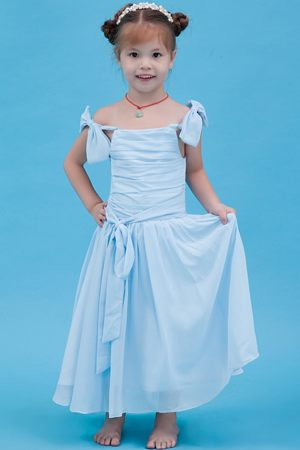 Colorado A-line Straps Ruches Junior Bridesmaid Dress in Baby Blue