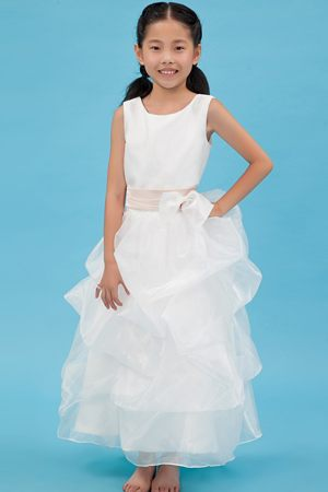 Scoop White A-line Sash Junior Bridesmaid Dress in Massachusetts
