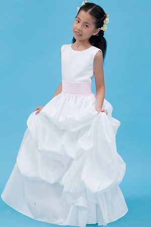 Louisiana White A-line Scoop Belt Pick-ups Junior Bridesmaid Dress