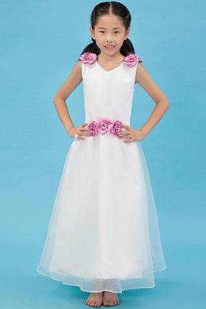 Hand Made Flowers White V-neck Junior Bridesmaid Dress in Nebraska