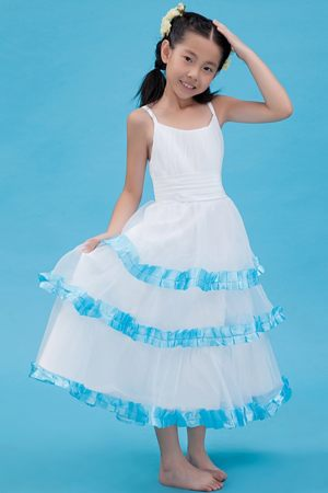 Ruches and Ruffles A-line Straps Junior Bridesmaid Dress in White