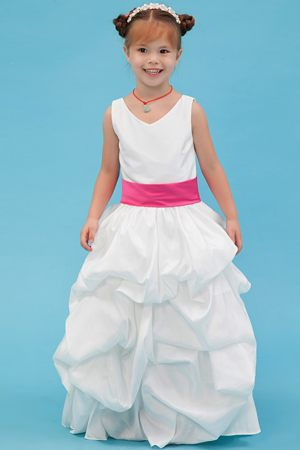 A-line V-neck Belt Junior Bridesmaid Dress in White with Pick-ups