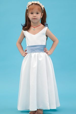 White A-line V-neck Junior Bridesmaid Dress with Belt in Kentucky