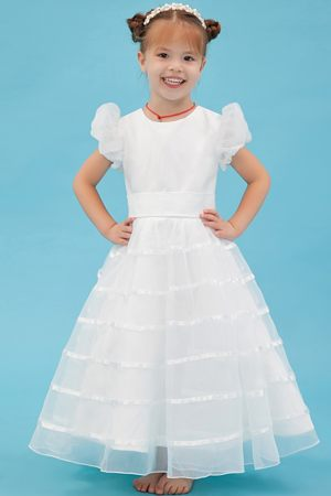 Belt A-line Scoop White Junior Bridesmaid Dress in Massachusetts