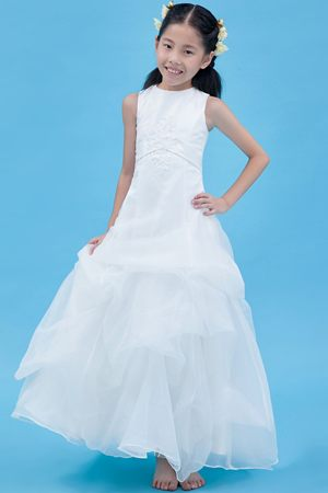 White A-line Scoop Appliques Junior Bridesmaid Dress in Washington
