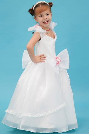 Hand Made Flowers White A-line Square Bow Junior Bridesmaid Dress