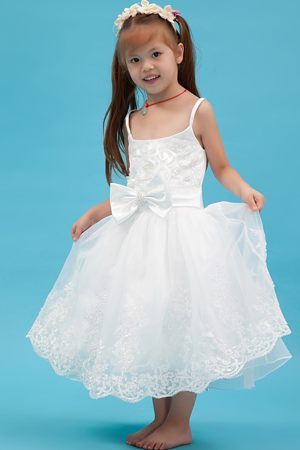 White Sash A-line Straps Junior Bridesmaid Dress in North Carolina