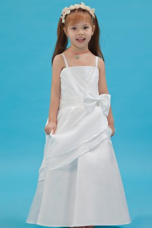 White A-line Straps Sash Junior Bridesmaid Dress in Pennsylvania