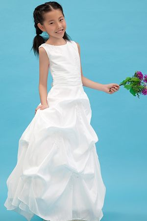 Scoop Appliques White A-line Junior Bridesmaid Dress in Nebraska