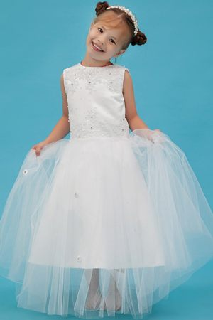Appliques White A-line Scoop Junior Bridesmaid Dress in Nebraska