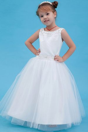 White A-line Scoop Beading Junior Bridesmaid Dress in New Mexico