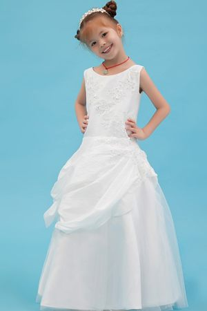 Beading and Appliques White A-line Scoop Junior Bridesmaid Dress
