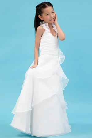 White Ruches and Flowers A-line Halter Junior Bridesmaid Dress