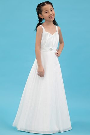 Ruches and Flowers A-line Straps Junior Bridesmaid Dress in White