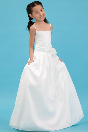 White A-line Straps Junior Bridesmaid Dress with Flowers in Maine