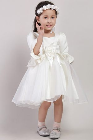 Embroidery and Flower White A-line Square Junior Bridesmaid Dress