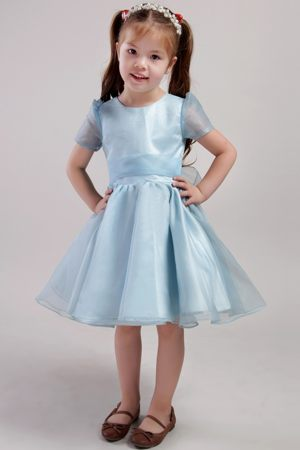 North Carolina A-line Scoop Bowknot Blue Junior Bridesmaid Dress