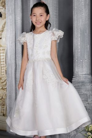 Scoop A-line Lace Short Sleeves Junior Bridesmaid Dress in White